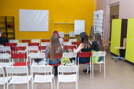 study group: Russia, Kirov - April, 02, 2017: Girls in class room in the fashion Agency called the territory of the first in 2017 in Kirov city