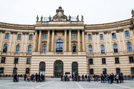 dom: Germany, Berlin - April, 21, 2017: Historical building on the street of Berlin city in spring 2017 Éditoriale