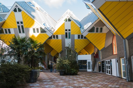 Rotterdam, Netherlands - April, 26, 2017: Strange building on the street of Rotterdam in 2017 Editorial