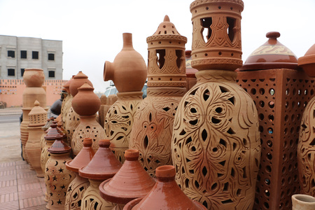 antique vase: Clay jars in clay shop and workshop
