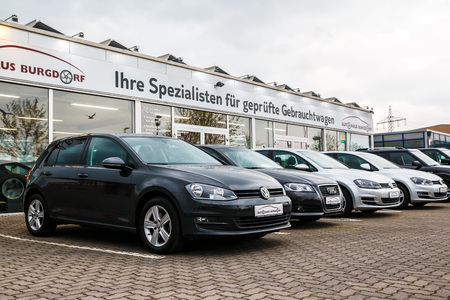 Germany, Burgdorf - April 21, 2017: Car Parking and car of auto dealership Aut haus Burgdorf in Burgdorf city 2017 Editorial
