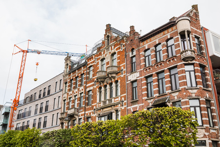 Antwerp, Belgium - April, 27, 2017: Building on the street of Antwerp in 2017