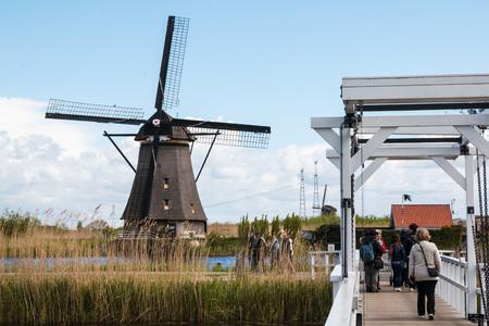watermill: Netherlands, Kinderdijk -?? April, 26, 2017: Mills and water channel in Kinderdijk in 2017