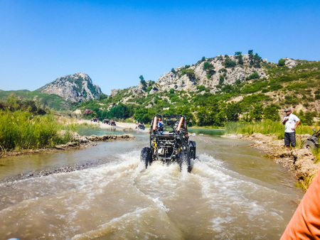 Side, Turkey - June, 24, 2017: Buggy safari tour in mountain in Turkey