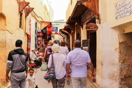 Rabat, Morocco - May 15, 2016: Pepole on the street of Rabat city in Morocco