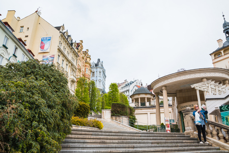 Karlovy Vary, Czech Republic - May 03, 2017: View of Old Town of Karlovy Vary, Czech Republic