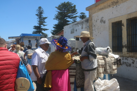 Essaouira, Morocco - May 13, 2016: Arabic moroccan people in Essaouira city in a summer day