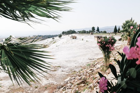 White travertine in Pamukkale (Cotton Castle) in Turkey in a nice day