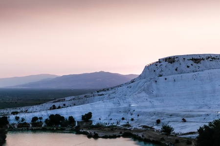 White travertine in Pamukkale Cotton Castle in Turkey in a nice day Stock Photo