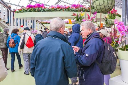 Lisse, Netherlands - April 25, 2017: People in the park of flowers Keukenhof