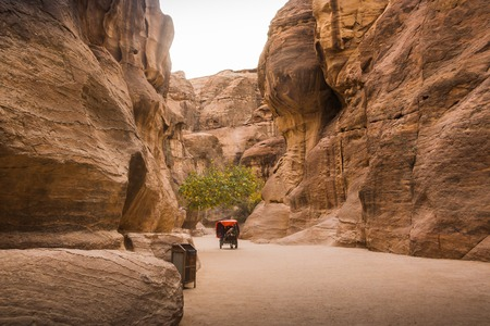 Petra, Jordan - December, 21, 2017: Siq canyon, which goes to the ancient city of Petra and tourists in it Editorial