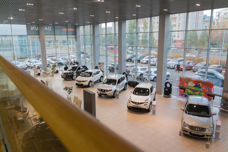 Kazan, Russia - October 19, 2017: Car in showroom of dealership Nissan in Kazan city. View from the top