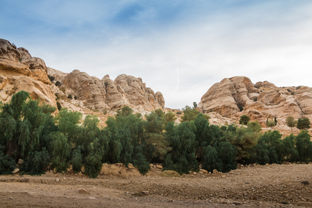 Siq canyon, which goes to the ancient city Petra and rocks there Stock Photo