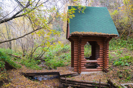Wooden chapel near the Holy spring in the forest in a day