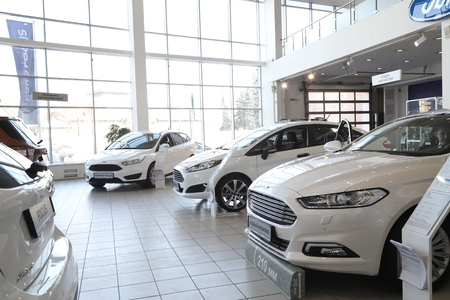 Kirov, Russia - March 14, 2018: Cars in showroom of dealership Ford in Nizhny Novgorodcity in 2018 Editorial
