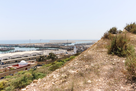 Agadir, Morocco - May 22, 2016: View of modern port in Agadir city from hight point in Morocco in Africa