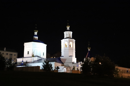 Russia, Kazan - May 18, 2018: Buildin in the lights of the night city