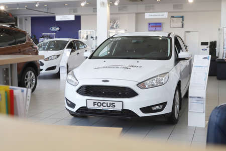 Kirov, Russia - March 14, 2018: Car in showroom of dealership Ford in Nizhny Novgorodcity in 2018 Editorial
