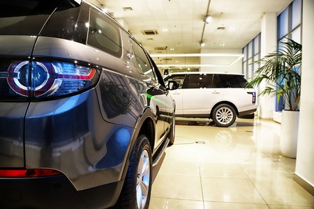 Kazan, Russia - May 18, 2018: Cars in showroom of dealership Range Rover in Kazan in 2018