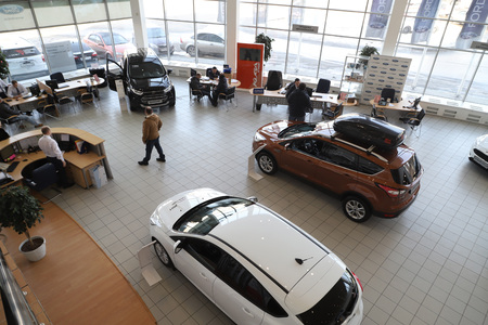 Kirov, Russia - March 14, 2018: Cars in showroom of dealership Hynday in Nizhny Novgorodcity in 2018. Top view Editorial