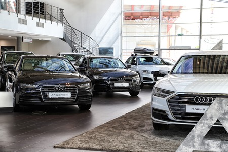 Kazan, Russia - May 27, 2018: Cars in showroom of dealership Audi in Kazan in 2018 Editorial