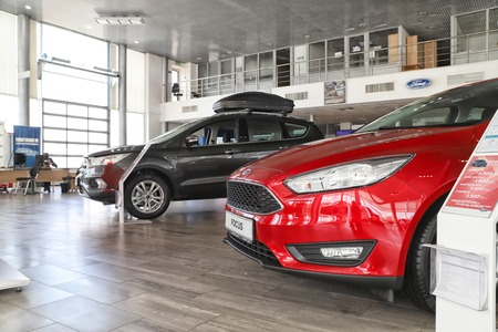 Kazan, Russia - May 27, 2018: Cars in showroom of dealership Ford in Kazan in 2018 Editorial