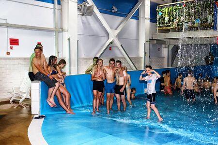 Kirov, Russia - August 19, 2018: Teenagers on party AQUA MADFLOW at Russia in Kirov city in AquPark named Friendship Standard-Bild - 143148141