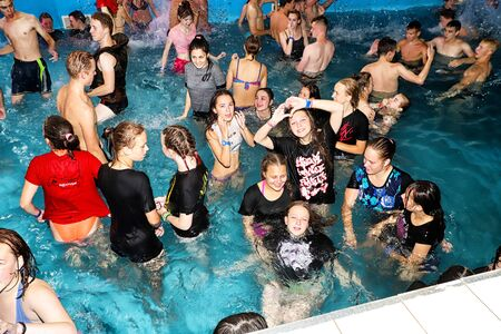Kirov, Russia - August 19, 2018: Teenagers on party AQUA MADFLOW at Russia in Kirov city in AquPark named Friendship Standard-Bild - 143148219