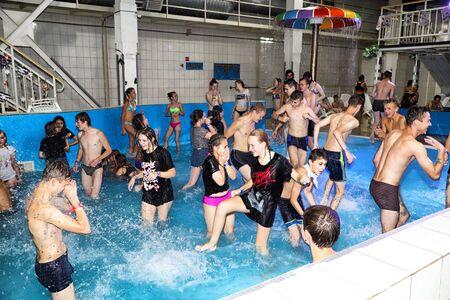 Party for teenagers AQUA MADFLOW at Russia, Kirov city, AquPark named Friendship on 19.08.2018 Standard-Bild - 143148336
