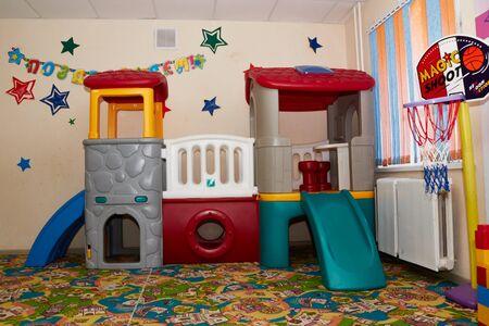 Kirov, Russia - February 17, 2017: Interior of the children's entertainment club. Kindergarten room Redactioneel