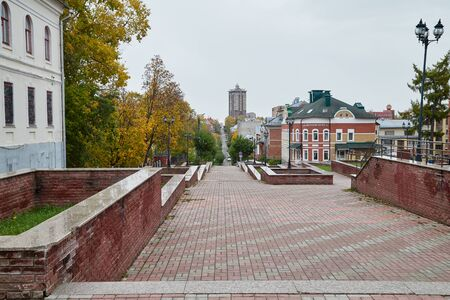 Kirov, Russia - October 06, 2018: Street and building on it in Kirov city in Russia in an autumn day