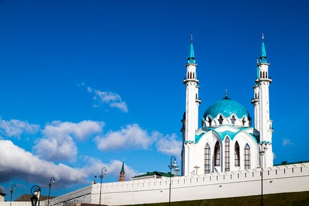 Minarets of the mosque against the blue sky. Kul Sharif Mosque also spelled Qolsarif on the Kremlin in Kazan in Republic of Tatarstan in Russia