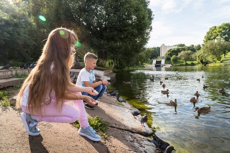 Kirov, Russia - August 21, 2018: Happy family feeding ducks on the lake in the Park. Mom, dad, son and daughter during a walk in the summer day