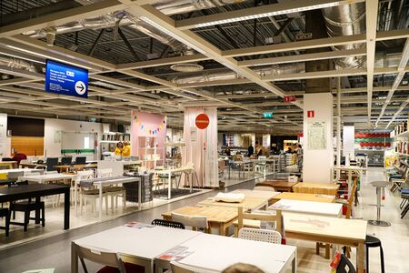 Kazan, Russia - Oktober 17, 2018: Interior of large IKEA store with a wide range of products in Russia. Furniture for kitchen Redactioneel