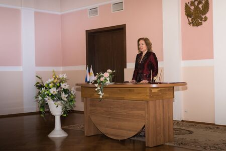Kirov, Russia - June 15, 2018: Registry office of marriage and female manager of the registrar's office in it