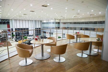 Kazan, Russia - October 16, 2018: Lunchroom in showroom of dealership Toyota in Kazan city in Tatarstan in 2018 Editoriali