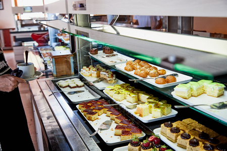 Food on the shelves in the self-service buffet with all inclusive in the hotel in Turkey Stock Photo