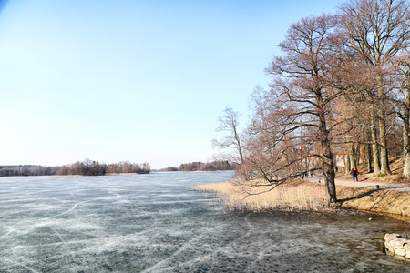 Landscape with lake covered with ice and trees around with Sunny spring or autumn day Stock Photo