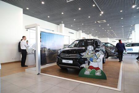 Nizhny Novgorod, Russia - March 14, 2018: Cars in showroom of dealership Hynday in Nizhny Novgorod city in 2018