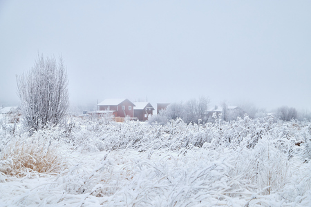 Russian village in winter covered snow. White landscape