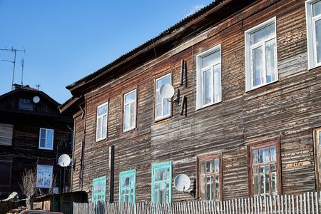 Facade of an old stone house in the Russian village. The Russian heartland and historical home