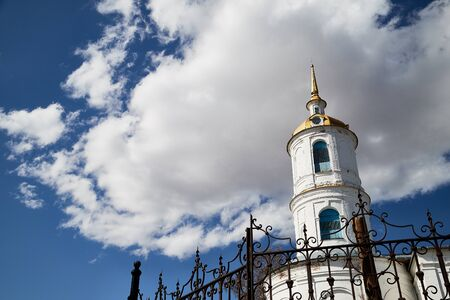 Traditional russian church with domes in nature landscape in a day. Architecture in the Orthodox religion