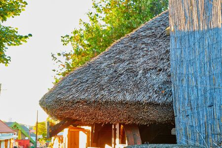 Close up view on the roof of traditional house in a small town under beautiful sky in a nice day