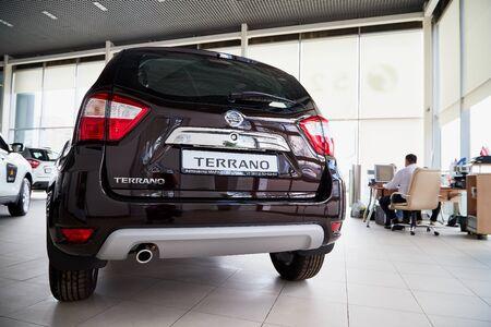 Vologda, Russia - June 18, 2019: Car in showroom of dealership Nissan in Vologda city in Russia