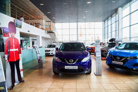 Kirov, Russia - May 07, 2019: Car in showroom of dealership Nissan in Kirov in 2019 Editoriali