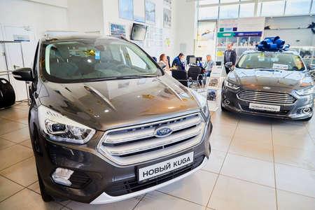 Murmansk, Russia - June 21, 2019: Cars in showroom of dealership Ford in Murmansk city in Russia Redactioneel