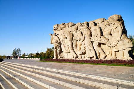 Volgograd, Russia - October 18, 2019: Monument in park of historical war complex Mamaev Kurgan in Volgograd, Russia Sajtókép