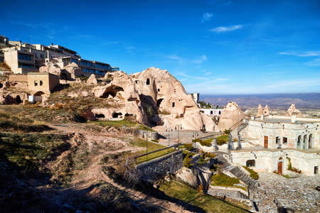View on Cappadocia rock houses, caves and ruins in Goreme in Anatolia, Turkey. Ruins of an ancient city. Concept of the historic voyage Stockfoto