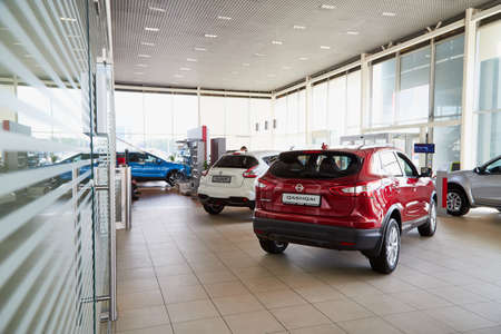 Vologda, Russia - June 18, 2019: Cars in showroom of dealership Nissan in Vologda city in Russia