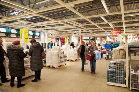 Kazan, Russia - December 22, 2019: Interior in hall of large IKEA store with a wide range of products and people in it in Russia Redactioneel